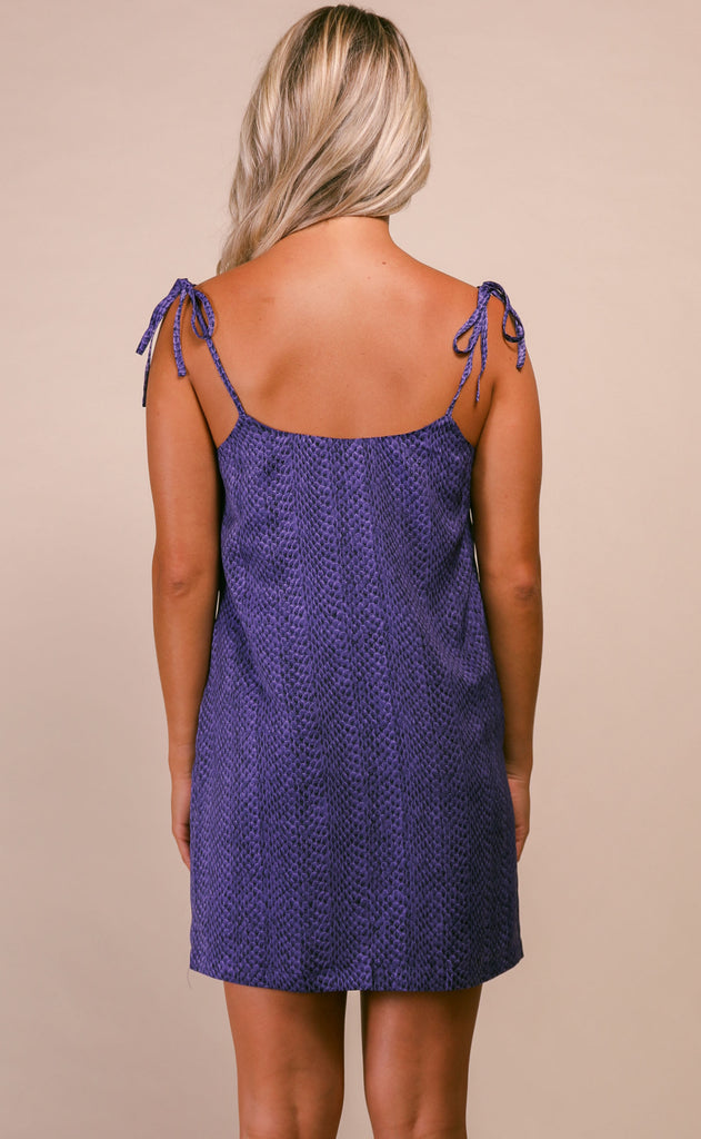 buddylove: tobin tie slip dress - purple python