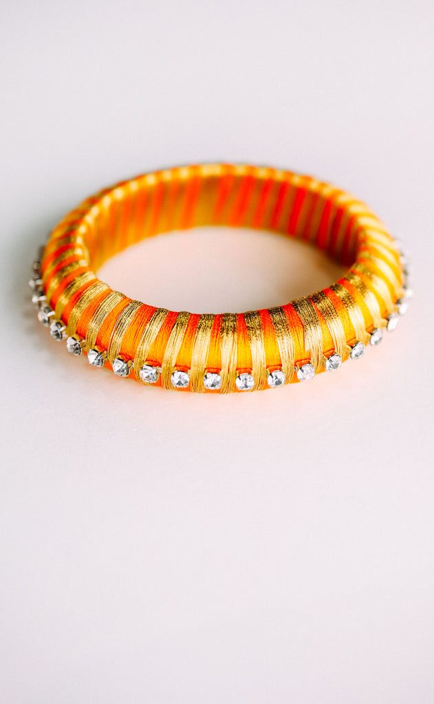 budha girl: malia silk wrap bangle - orange