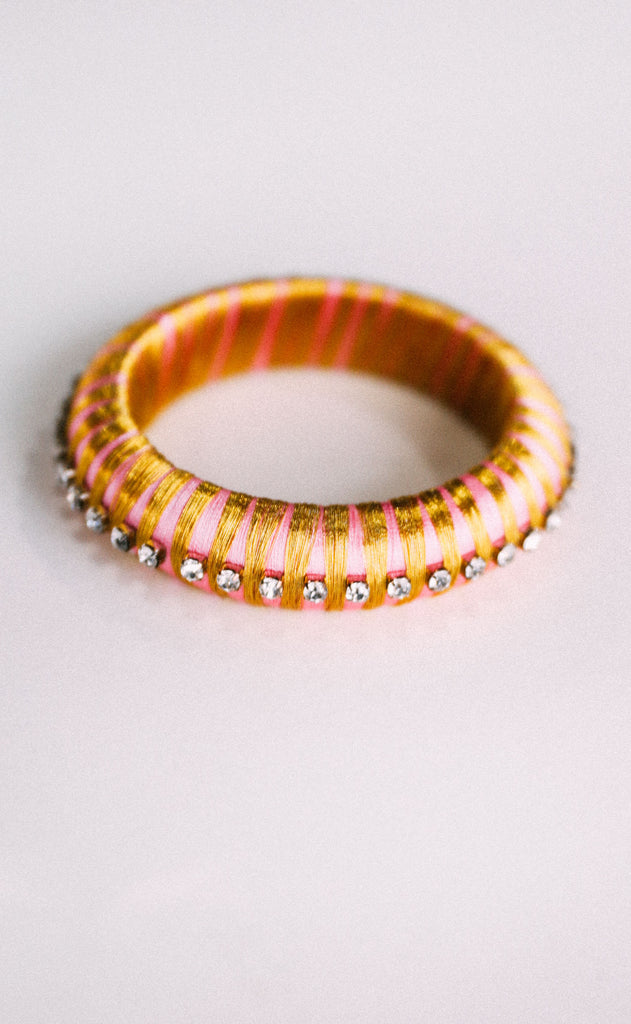 budha girl: malia silk wrap bangle - pink