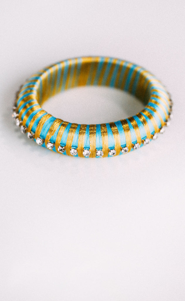 budha girl: malia silk wrap bangle - turquoise