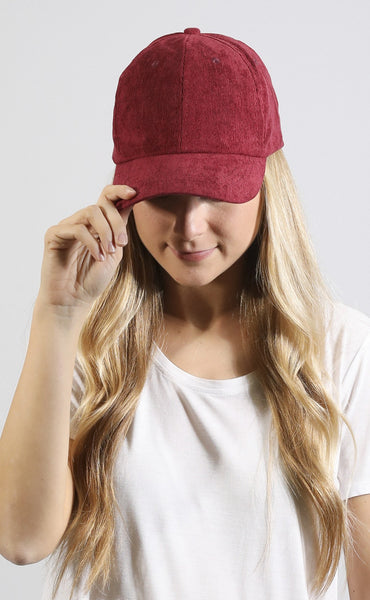 around the globe corduroy hat - burgundy