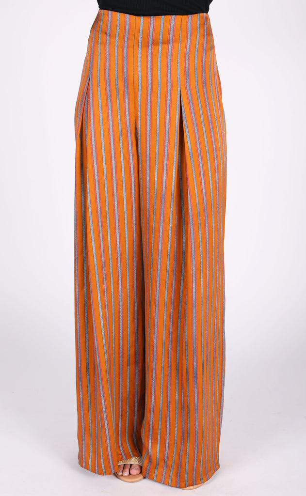 business as usual striped pants - mustard