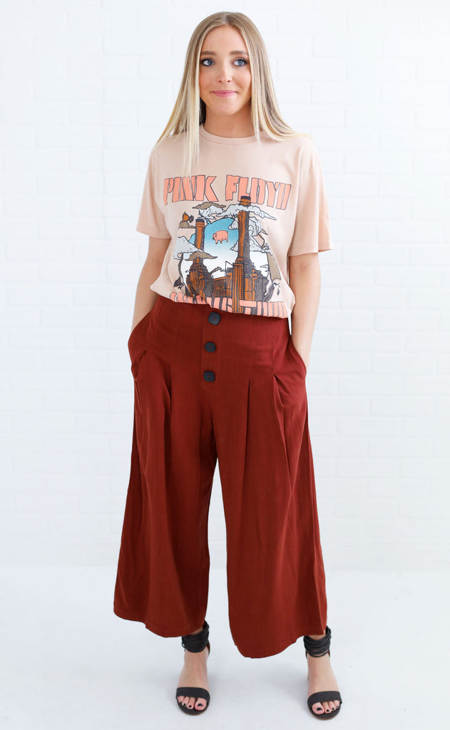 buttoned up flare pants