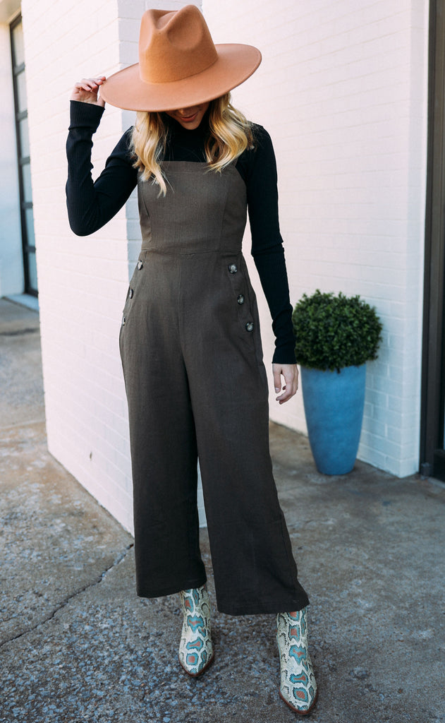 buttoned up woven jumpsuit