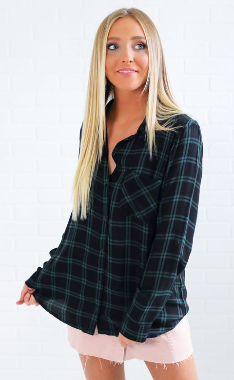 cabin fever plaid top - hunter