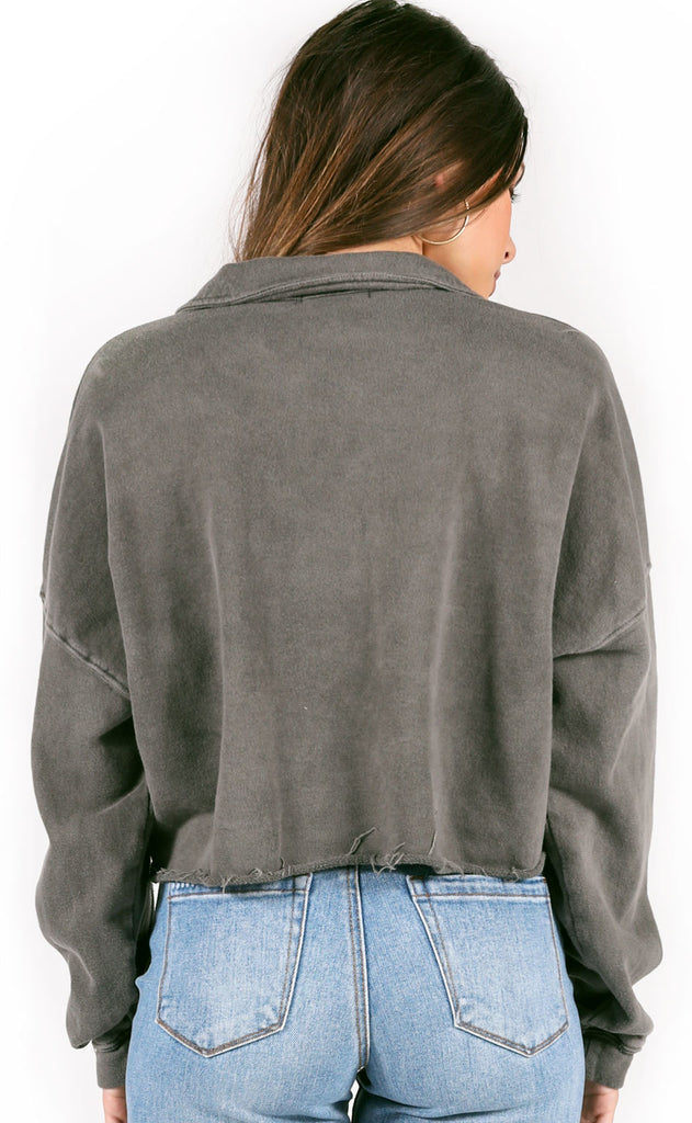 cabin cozy collared top - charcoal