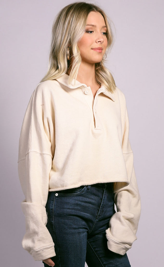 cabin cozy collared top - cream