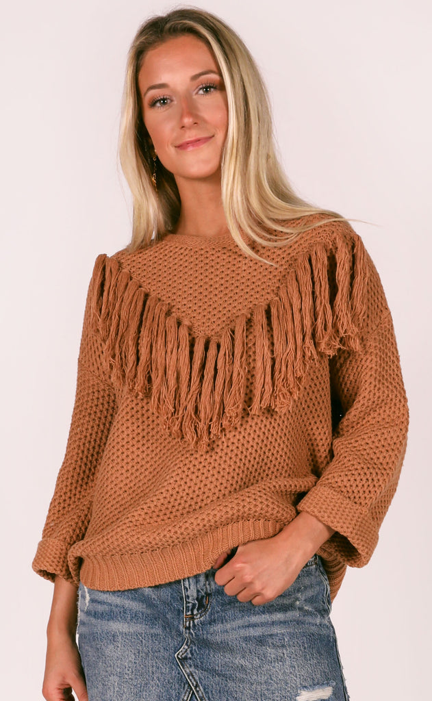 call me fringe sweater - latte