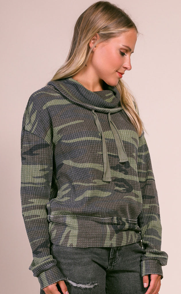 z supply: the camo cowl neck thermal - camo green