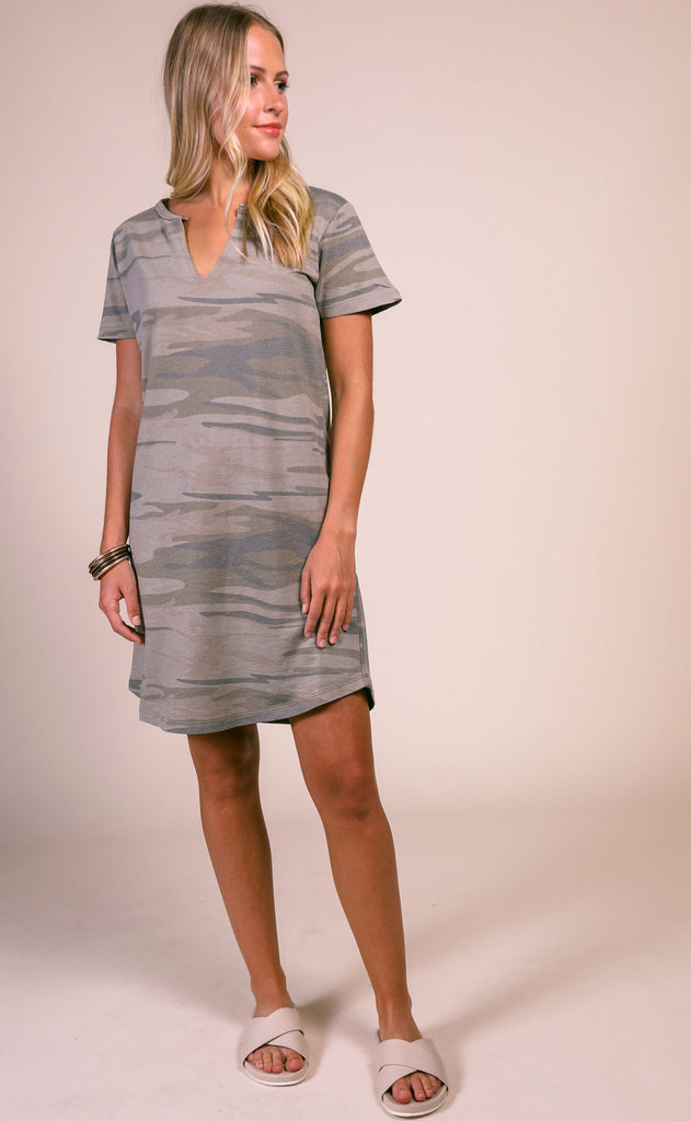 z supply: the camo split neck dress - camo light sage
