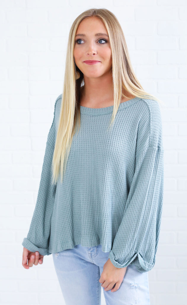 can't help myself waffle knit top - sage