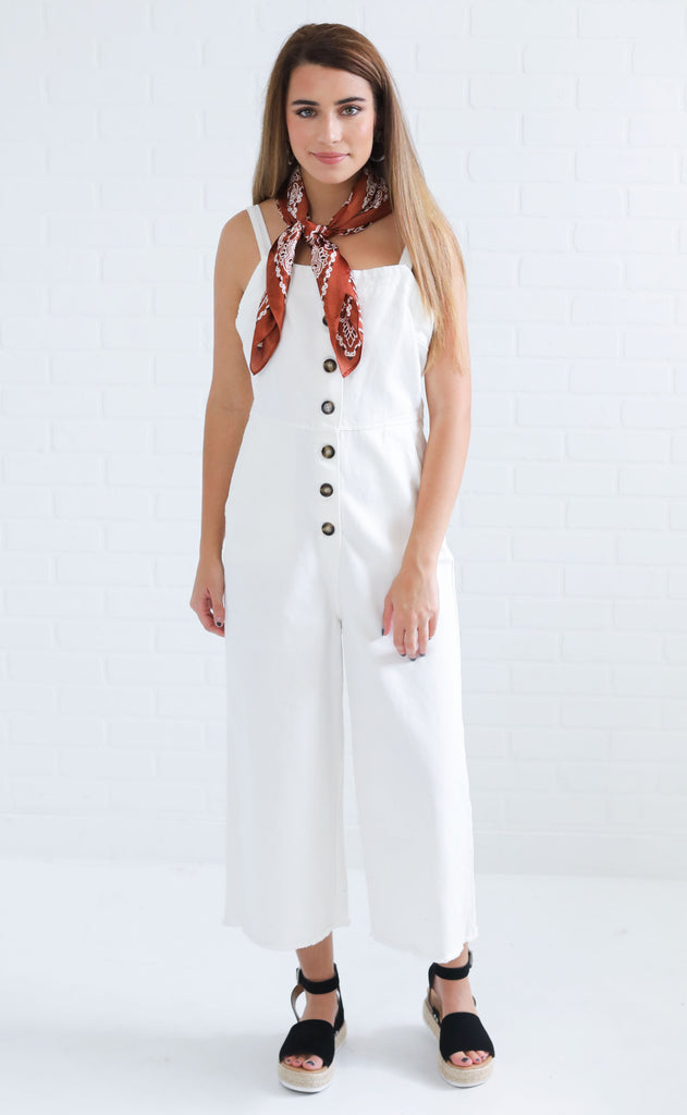 cape cod button up jumpsuit