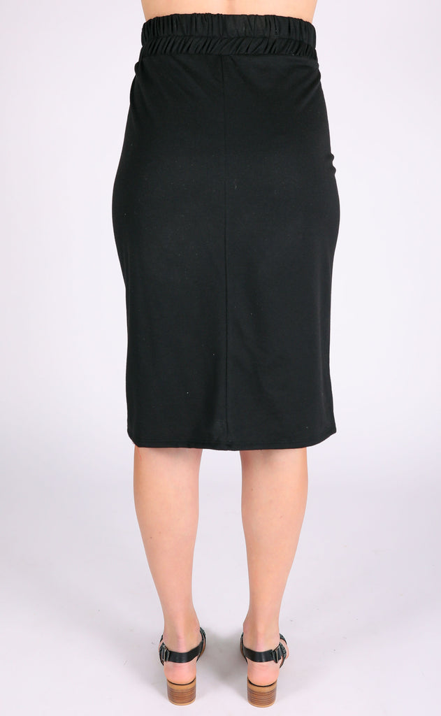 casual cool midi skirt - black