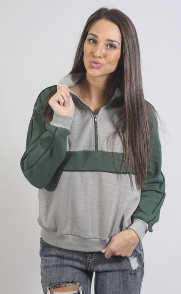casual friday striped pullover - green