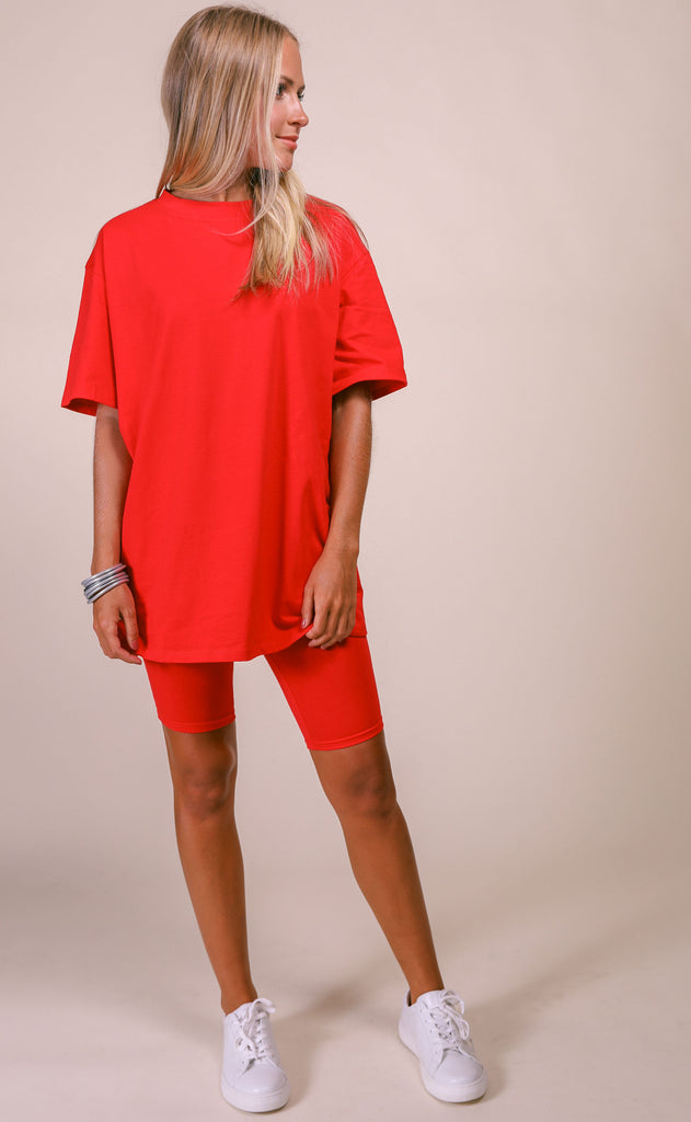 casually cool two piece set - red