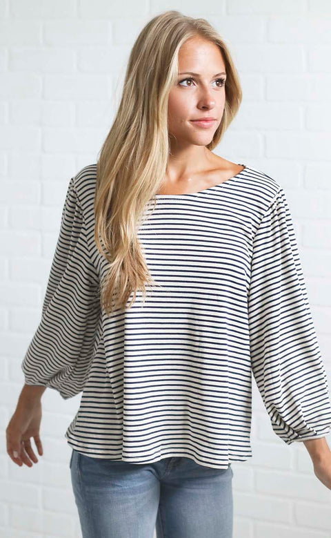 catch of the day striped top - navy