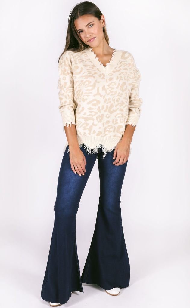 catwalk knit sweater - taupe spot