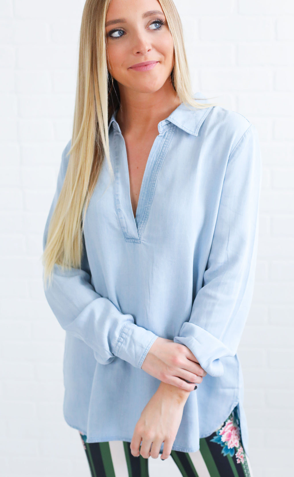 chambray all day long sleeve top