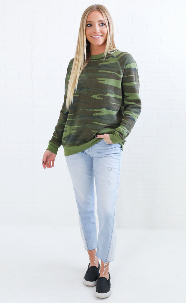 alternative: champ printed eco-fleece sweatshirt - camo