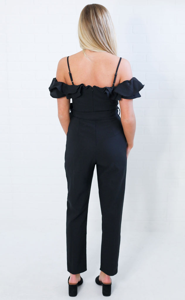 champagne toast ruffle jumpsuit