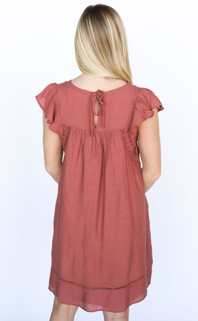 change of heart ruffle dress