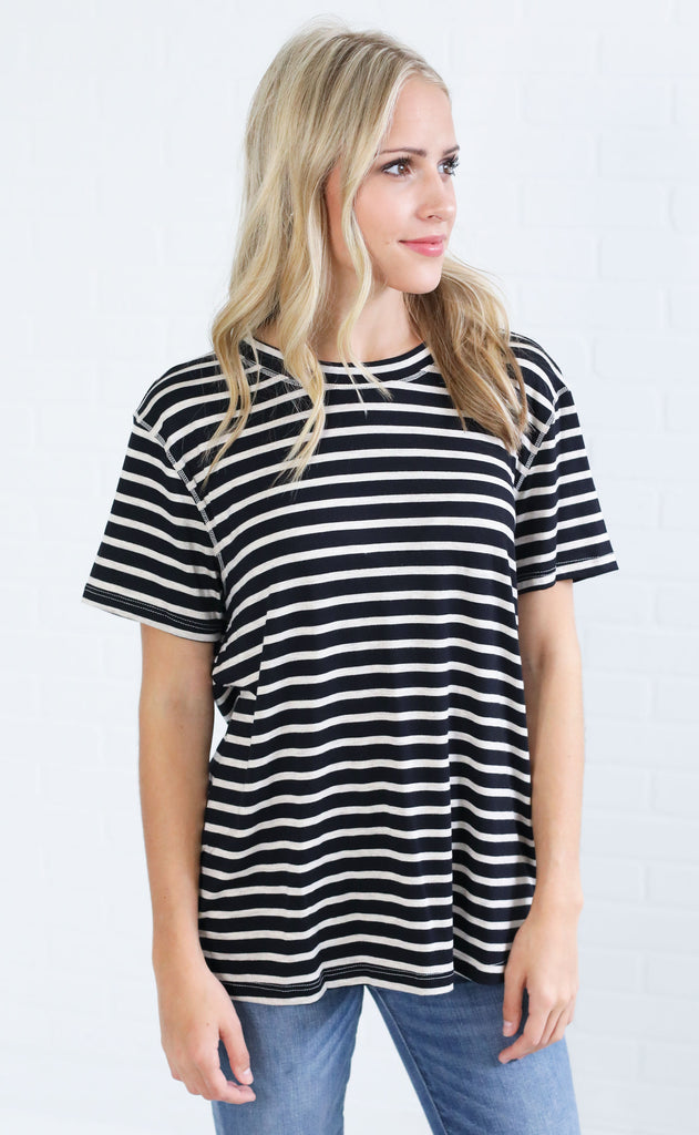 change of season striped top - black