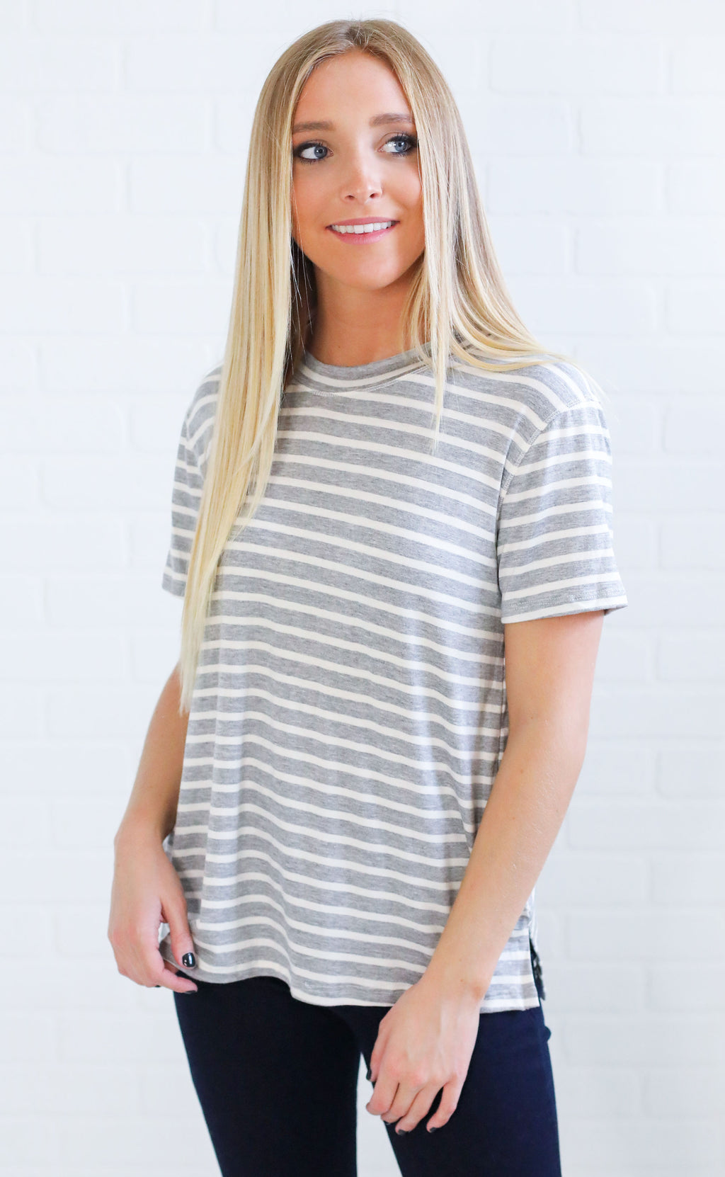 change of season striped top - grey