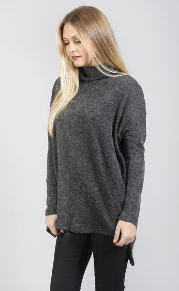 turn it up turtleneck tunic - charcoal