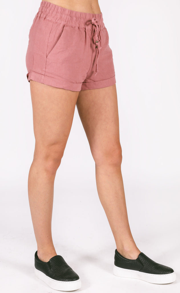 charlotte linen shorts - dusty rose