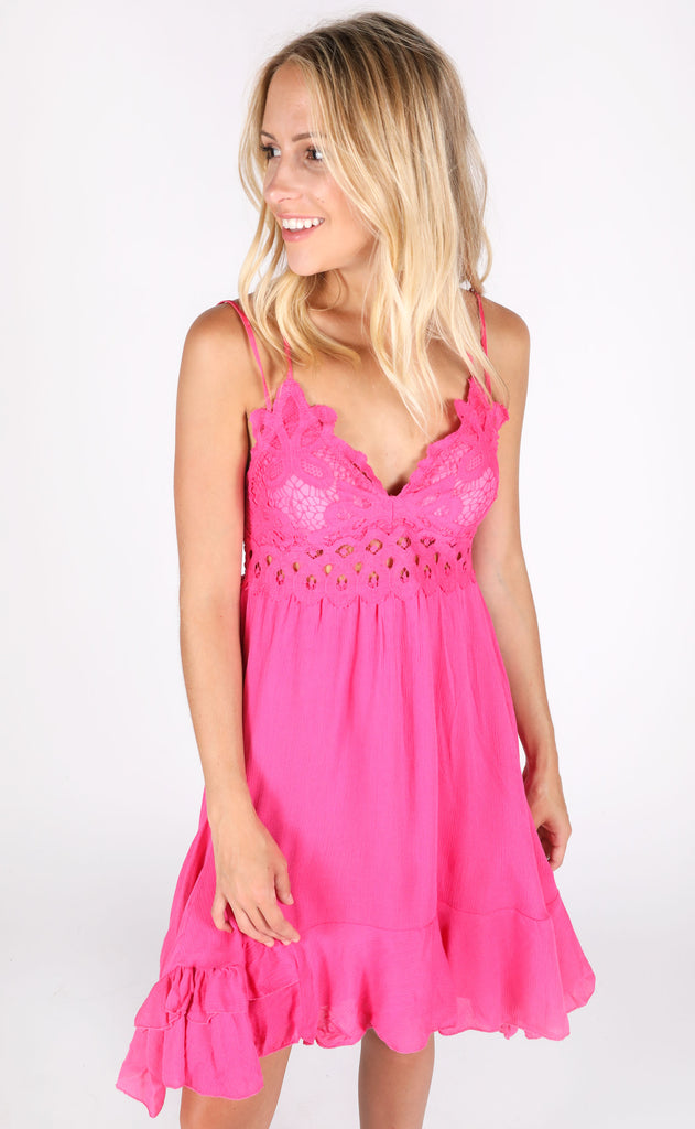chase the sun slip dress - hot pink