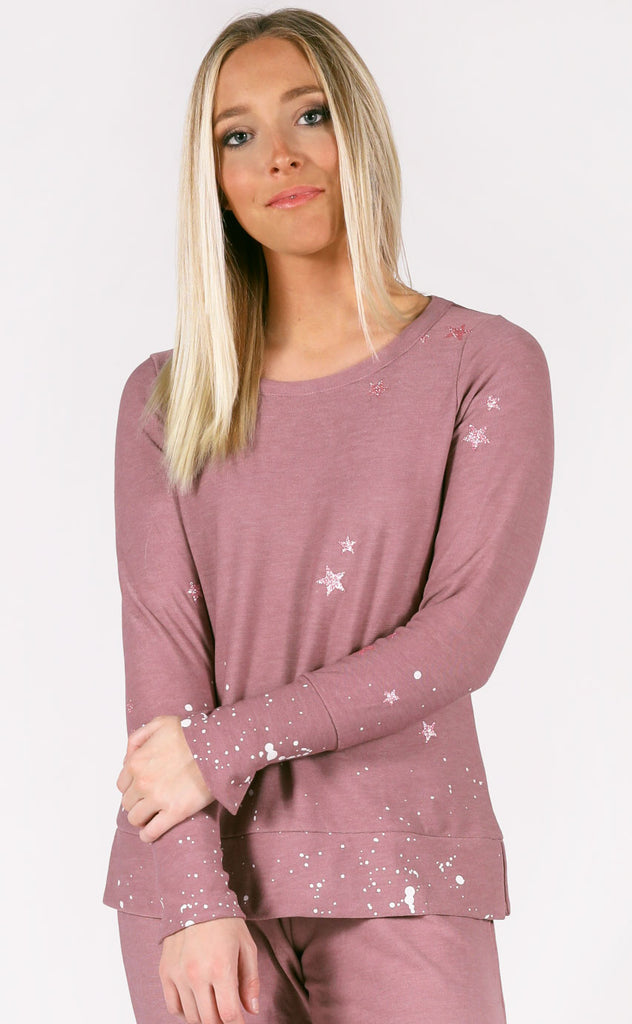 chaser: split cuff pullover - pinky stars