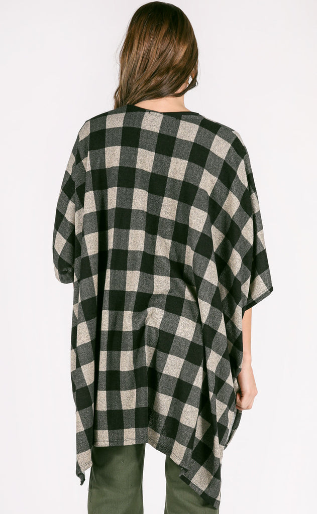 check on it plaid cardigan - grey