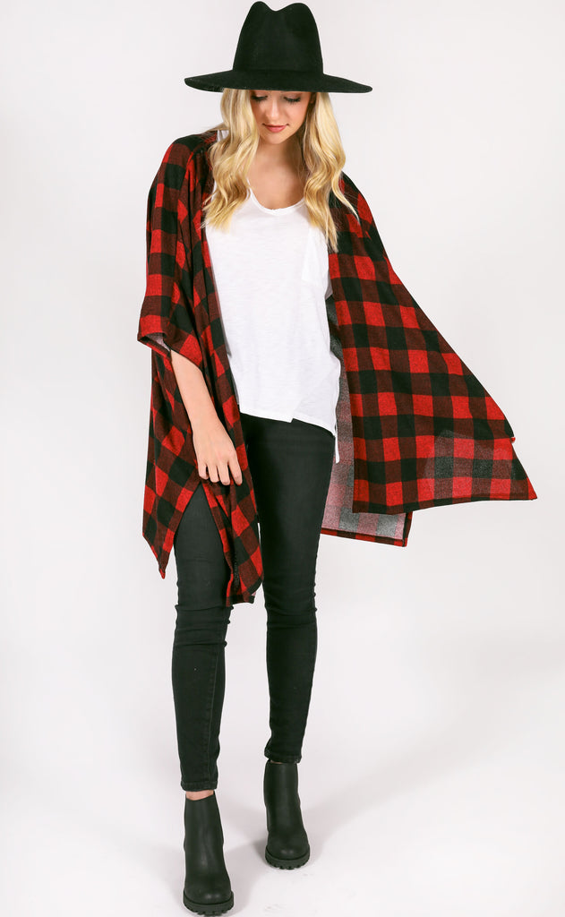 check on it plaid cardigan - red