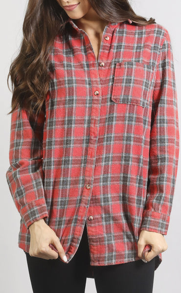 checked out flannel button up top - red