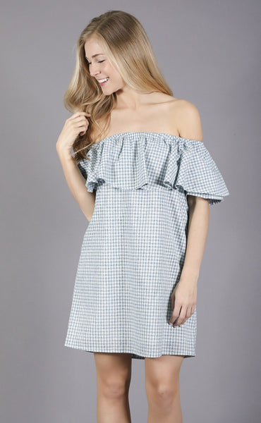 checkerboard chic off shoulder dress