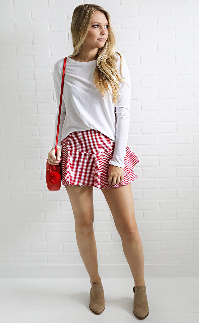 cherry pie gingham skort