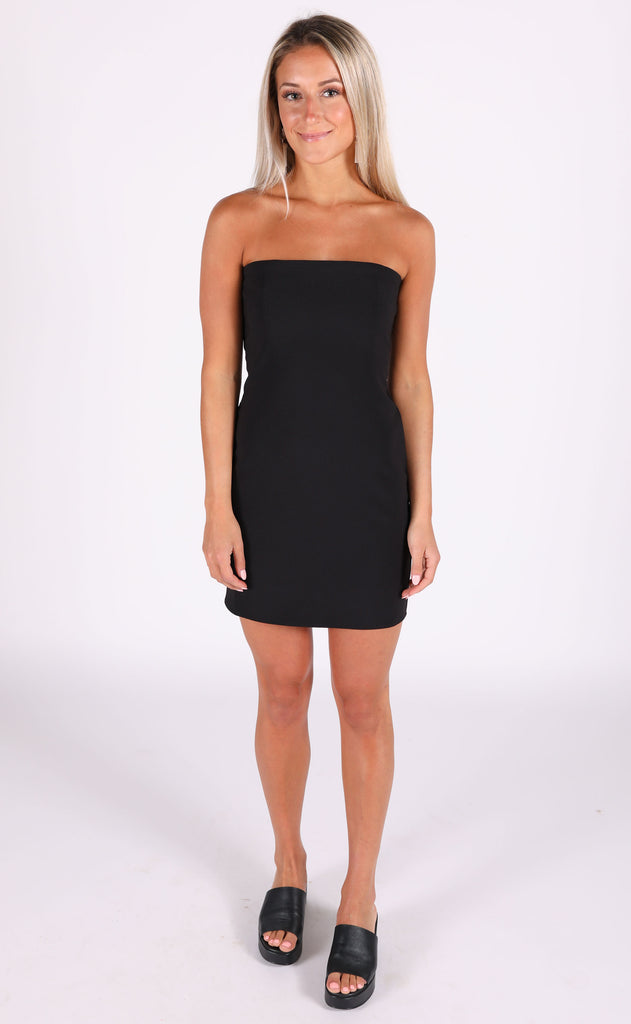 chic happens strapless dress