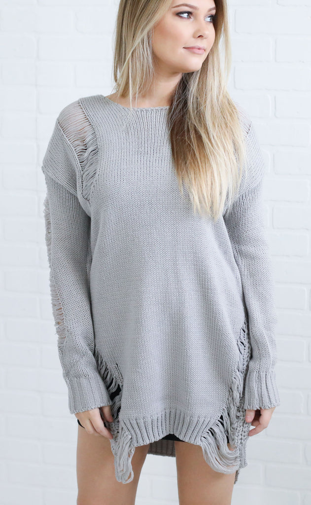 chic thrills distressed sweater
