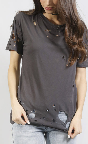 chic thrills distressed t shirt - charcoal