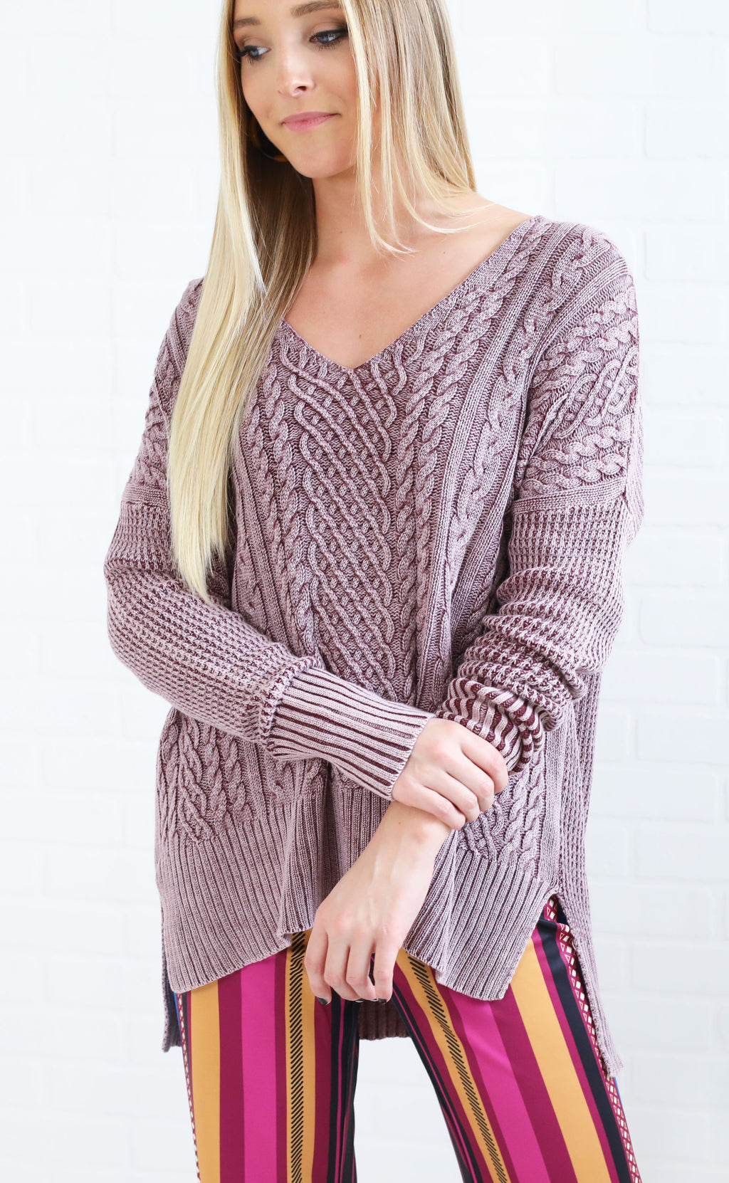 chill factor cable knit sweater - burgundy