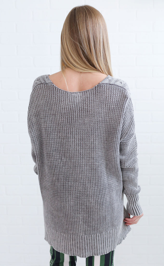 chill factor cable knit sweater - charcoal