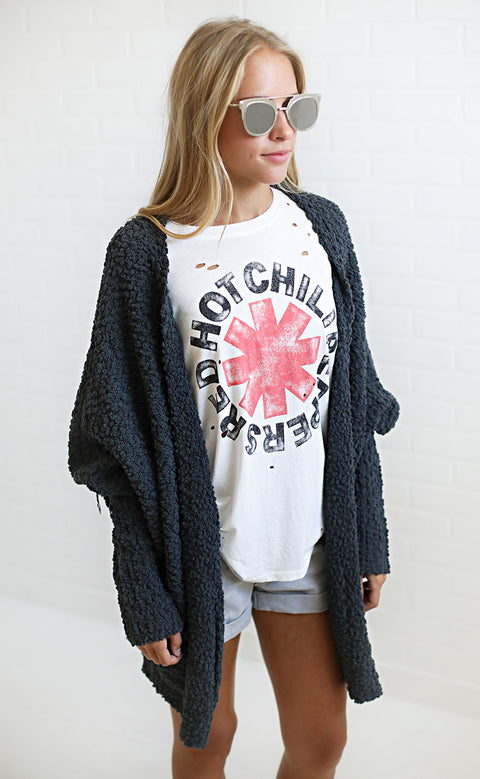 chill time oversized cardigan - charcoal