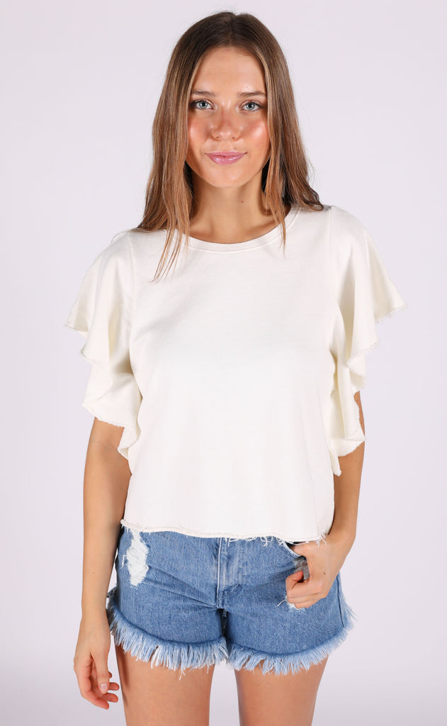 christy ruffle tee - cream