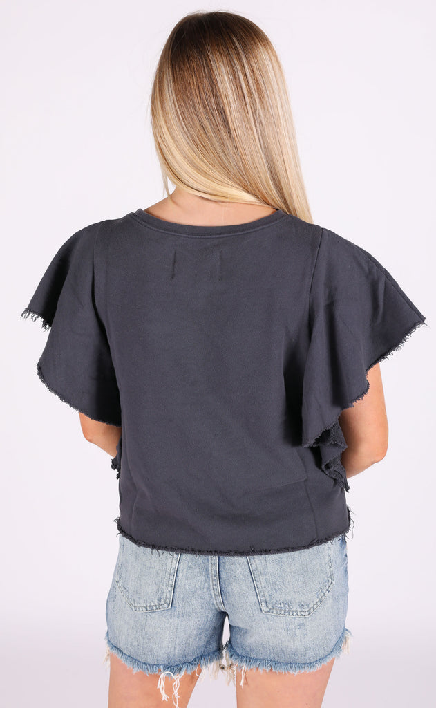 christy ruffle tee - gunmetal