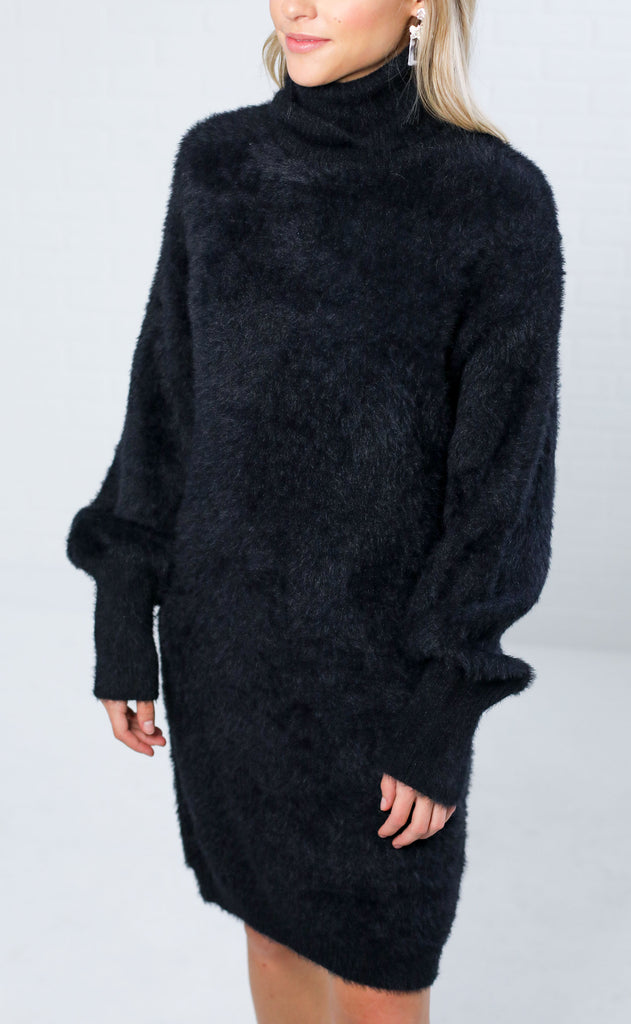 city slicker turtleneck sweater dress