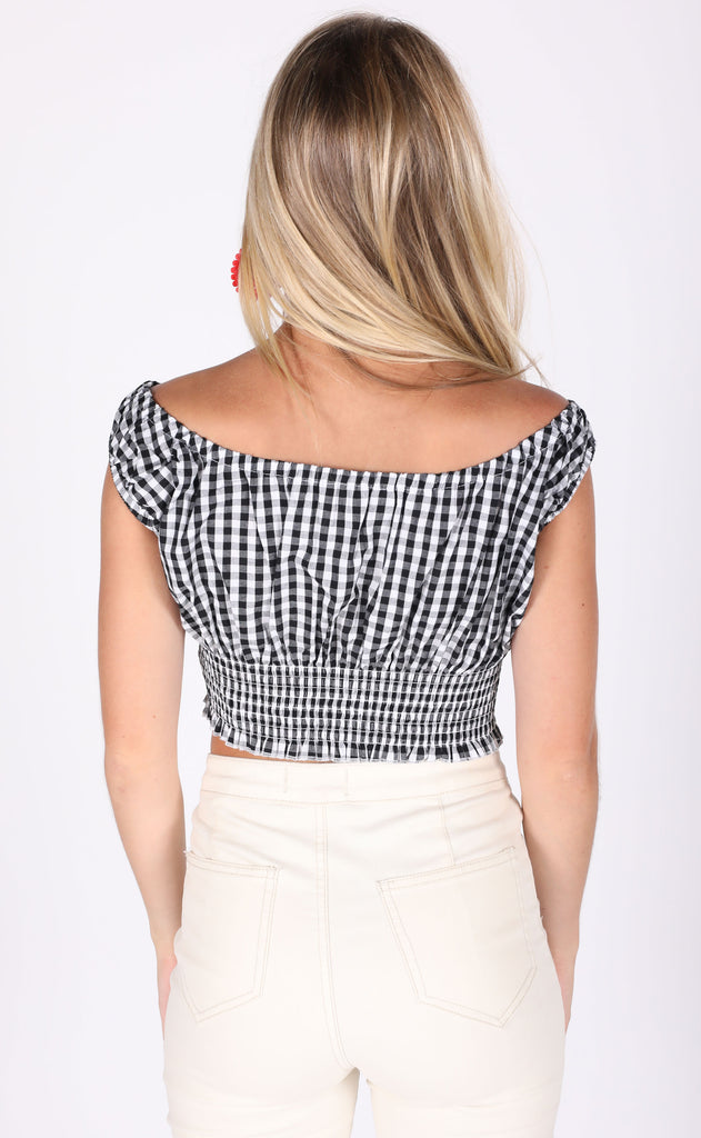 city lights checkered crop top
