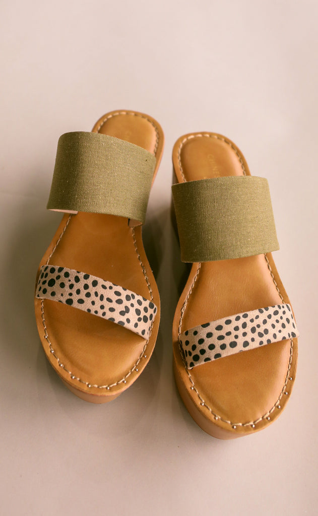 chinese laundry: wind slide sandal - linen/cheetah