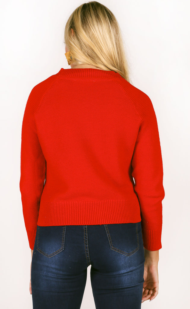 class act knit sweater - red