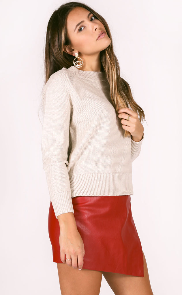 class act knit sweater - taupe