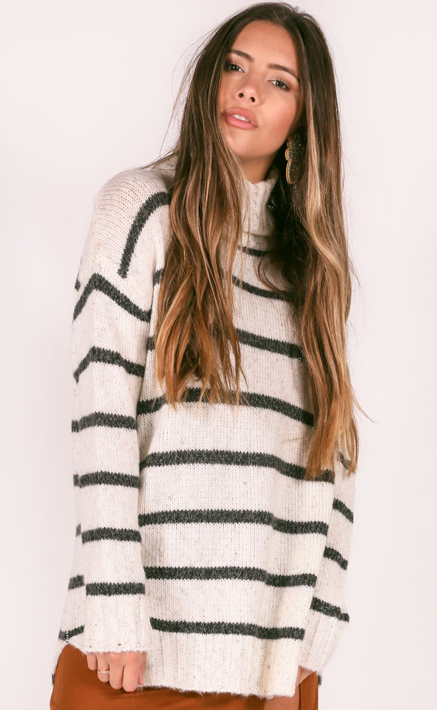 classically striped oversized sweater